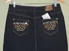 Fashionable Long Midnight Blue Denim Embellished Stretch Skirt Sz 13 NWT #Other #LongSkirt