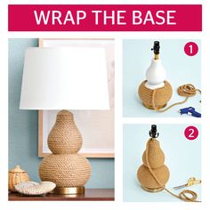 Add texture to a boring lamp with rope that takes only a few minutes to apply. See the complete and easy-to-do instructions here.