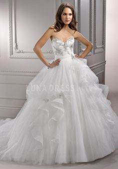 Consice Floor Length Tulle Sweetheart Natural Waist Semi Cathedral Train Bridal Dresses