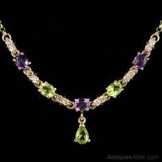 ~ SuffragetteNecklace w/ Amethyst, Peridot,andDiamond 9ct ~ antiques-atlas.com