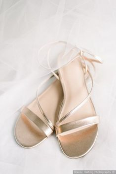 Gold strap flat wedding sandals  {Stacey Harting Photography}