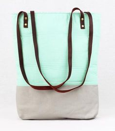 Colorblocked Mint Tote