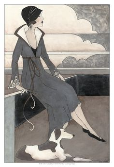 art deco dog pictures | Art Deco Lady With Dog Pôsters por Megan Meagher na AllPosters.com.br