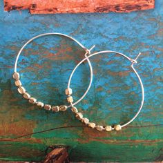 Two Tone Gold Silver Hoop Earring Gold Nugget Beaded Silver Pierced Thin Hoop Earrings Gift for Her Beach Wedding Bridal Bridesmaid Modern by MermaidBeadsJewelry on Etsy