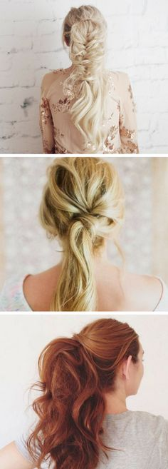 Messy hairstyles are on top right now: natural looks as if you've just woken up is right what you need. A messy ponytail is number one hairstyle for Lazy Girl Hairstyles, Chic Hairstyles, Ponytail Hairstyles, Hairstyle Ideas, Fashion Hairstyles, Spring Hairstyles, Prom Hairstyles, Hair Ideas, Twist Ponytail