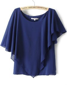 To find out about the Royal Blue Short Sleeve Asymmetrical Chiffon Blouse at SHEIN, part of our latest Blouses ready to shop online today! Kitten Heel Boots, Royal Blue Shorts, Summer Work Outfits, Floral Dresses, Capes, Blouse Designs, Evening Dresses, Trousers, Chiffon