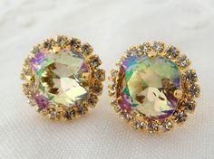 Rainbow mint green estate Crystal Swarovski by EldorTinaJewelry, $42.00
