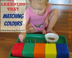 Learning Tray - Matching Colours  Sorting and matching coloured match sticks to the relevant coloured styrofoam sections.