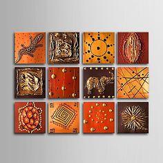 pintado+à+mão+pintura+a+óleo+animal+com+quadro+esticado+-+conjunto+de+12+–+BRL+R$+548,60