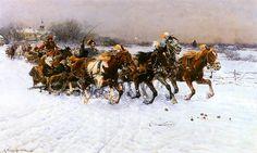 """Lithuanian Sledgeride"" by Alfred Wierusz-Kowalski oil on canvas; Polish Alphabet, Historical Monuments, High Fantasy, Horse Art, Agra, Christmas Art, Beautiful Artwork, Art Pictures, Art History"