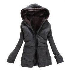 Wholesale Laconic Hooded Zipper Design Solid Color Long Sleeve Thicken Slimming Fleece Coat For Women (DEEP GRAY,ONE SIZE), Jackets & Coats - Rosewholesale.com
