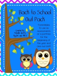Back to School Owl Theme: 9 assessments for the first week of Kinder...Owl Craft too