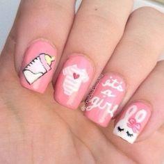 baby girl nails by phoebedoesnails Baby Nail Art, Baby Girl Nails, Girls Nails, Girls Nail Designs, Colorful Nail Designs, Toe Nail Designs, Get Nails, Love Nails, Pretty Nails