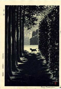 Shiro Kasamatsu (Japan, 1898-1991) - Moonlight Night (Cat), 1958: