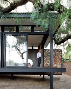 """12.6k Likes, 53 Comments - Dwell (@dwellmagazine) on Instagram: """"A floating wall on a Johannesburg cottage draws inspiration from local mining moguls and Mies van…"""""""