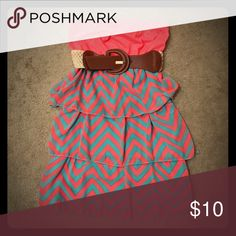 Super cute chevron strapless dress Coral and mint green chevron print strapless dress with belt. Only worn once Rue 21 Dresses Strapless
