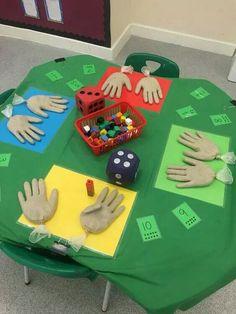 First Grade math activity (counting hands).latex gloves filled with sand. Maths Eyfs, Numeracy Activities, Kindergarten Classroom, Teaching Math, Activities For Kids, Number Games Kindergarten, Ks1 Classroom, Addition Activities, Nursery Activities