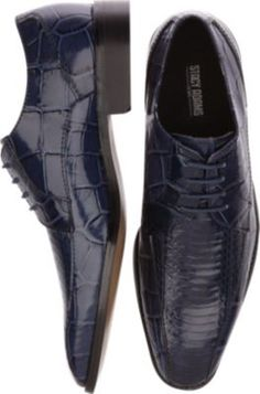 Stacy Adams Piccard Navy Snakeskin Bike Toe Lace Up Shoes