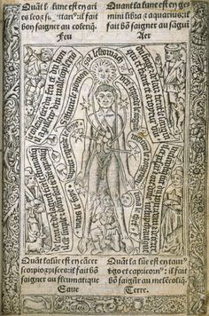Livre d'heures, l'homme anatomique  Horae Beatae Mariae Virginis ad usum romanum (1503) Paris : Thielman Kerver pour Gilles Remacle