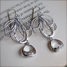 Chandelier Earrings-Silver Earrings with Crystal Clear Glass-Modern-Unique-Bridesmaid Earrings on Etsy, $29.00