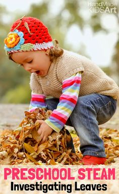 Preschool STEAM. Incorporate Science, Technology, Engineering, Art and Math along with play for preschool learning. An engaging way to explore leaves for a fun fall activity.