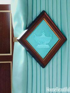 Oversize tiebacks in a master bedroom. Design: Kelee Katillac. housebeautiful.com. #tiebacks #curtains