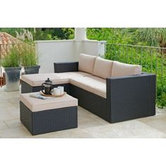 Buy Rattan Effect 3 Seater Mini Corner Sofa - Black at Argos.co.uk, visit Argos.co.uk to shop online for Garden table and chair sets