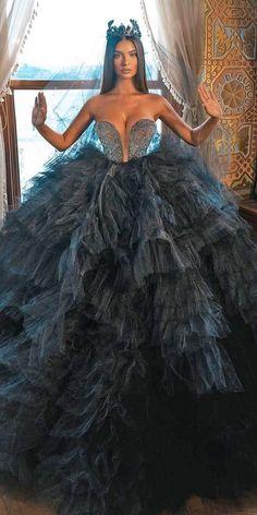 Dark Romance: 27 Gothic Wedding Dresses ❤ gothic wedding dresses ball gown sweetheart neckline tulle skirt saidmhamad ❤ #weddingdresses