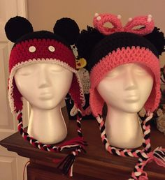 Minnie and Mickey Crochet Hats... Red Heart Yarn... Thank You Repeat crafter Me and hopefulhoney.com for the free patterns...