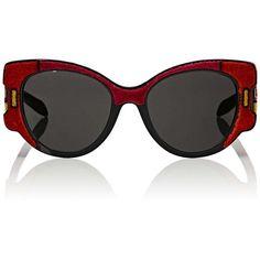 Prada Women's Cat-Eye Sunglasses (1550 TND) ❤ liked on Polyvore featuring accessories, eyewear, sunglasses, red, logo sunglasses, red cateye glasses, red lens glasses, cut out cat eye sunglasses and colorful sunglasses