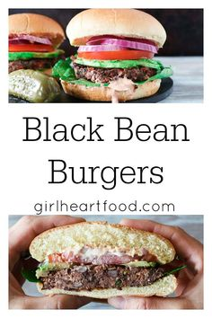 A photo collage of black bean burgers, one a close up and another with the burger cut in half to show interior.