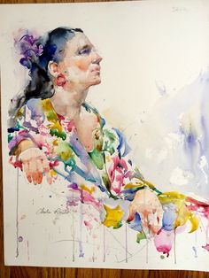Figure in Charles Reid Watercolor Portrait Painting, Watercolor Images, Watercolor Fashion, Watercolor Artists, Painting & Drawing, Best Portraits, Creative Portraits, Portrait Sketches, Portrait Art