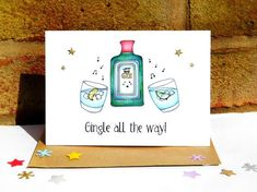 Diy Anniversary Cards For Boyfriend, Christmas Gin, Hand Drawn Cards, Watercolor Bookmarks, Pun Card, Cotton Texture, A6 Size, Funny Puns, Kraft Envelopes