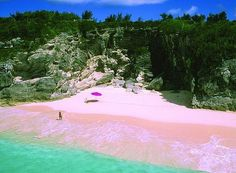 Pink Sands Beach, Harbour Island, Bahamas The color comes from small granules of coral mixing with white sand.