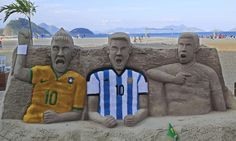 Caption This: Creepy sand sculptures of Neymar, Messi & Ronaldo at Copacabana beach Brazil World Cup, World Cup 2014, Fifa World Cup, Sand Sculptures, Lion Sculpture, Messi And Ronaldo, Cristiano Ronaldo, Soccer Fifa, Copacabana Beach
