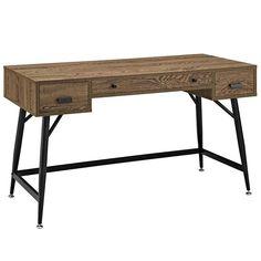 Modway Furniture Modern Surplus Office Desk in Walnut , Desks - Modway Furniture, Minimal & Modern - 1