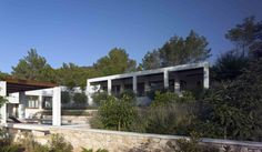 Garden & Landscaping, Gorgeous Backyard Garden Design In Ibiza Spain By De Blacam And Meaguer Architects With Stone Patterned Fence: Lovely Backyard Garden Design in Ibiza with Wonderful Valley View