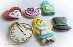 Alice in Wonderland decorated sugar cookies