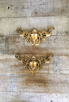 Candle Sconces Pair of Brass Sconces Ornate Brass Candlestick Holders Hollywood Regency Wall Candle Holders Mid Century Wall Mount Candle by TheDustyOldShack on Etsy