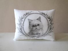 Personalized cat portrait pillow gift idea for cats lovers  hand painted custom message decorative memory cushion
