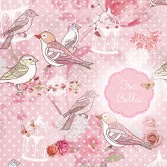 Geboortekaartje Isa Bella www.hetuilennestje.nl Vogels, vogelkooi, roze, romantisch