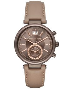 Michael Kors Women's Chronograph Sawyer Latte Leather Strap Watch 39mm MK2629