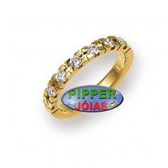 a4a749b2cd009 Anel em Ouro Amarelo 18k 750 com 7 Pedras de Diamante - AN005
