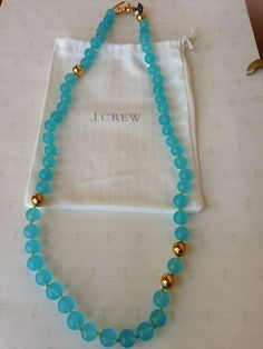 J Crew Glass Bead Long Strand Blue and Gold Necklace | eBay