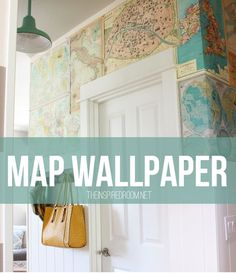 This was done using heavy-duty wrapping paper, but you can try vintage maps too. Get the full how-to on The Inspired Room.