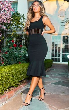 The Black Stripe Mesh Panel Midi Dress. Head online and shop this season's range of dresses at PrettyLittleThing. Big Girl Fashion, Curvy Fashion, Look Fashion, Sexy Dresses, Plus Size Dresses, Plus Size Outfits, Women's Dresses, Evening Dresses, Black Midi Dress