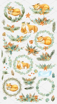 Watercolor Foxes & Flowers - Illustrations - 2