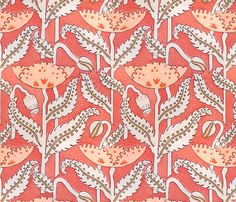 Antique Poppy in Coral by sparrowsong on Spoonflower - fabric and wallpaper