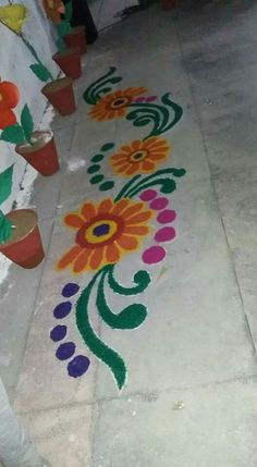 A line rangoli Rangoli Designs Latest, Simple Rangoli Designs Images, Small Rangoli Design, Colorful Rangoli Designs, Beautiful Rangoli Designs, Rangoli Borders, Rangoli Border Designs, Rangoli Patterns, Rangoli Ideas