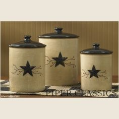 Star Vine Canisters / set 3 Our favorite designs, stars and berries, merge with country flair in this fabulous new dinnerware with a crackled cream background accented with black. Ceramic dinnerware and pottery is food safe, dishwasher and microwave safe.  Ideal for storing pantry supplies. Air-tight lid. Size: 6 1/2, 8, 9 high.